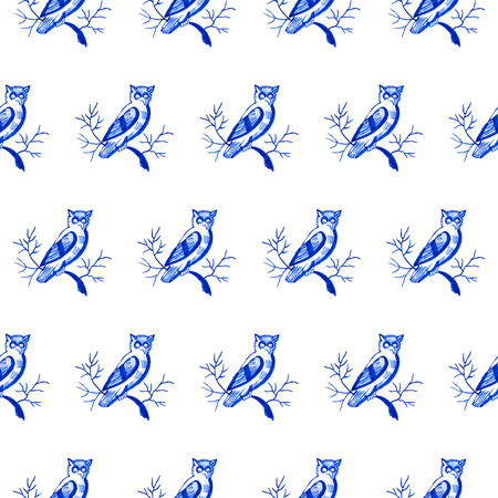 Delft blue style watercolour seamless pattern. Traditional Dutch motif with owls, cobalt on white background. Wallpaper. Textile print. Stock Photo