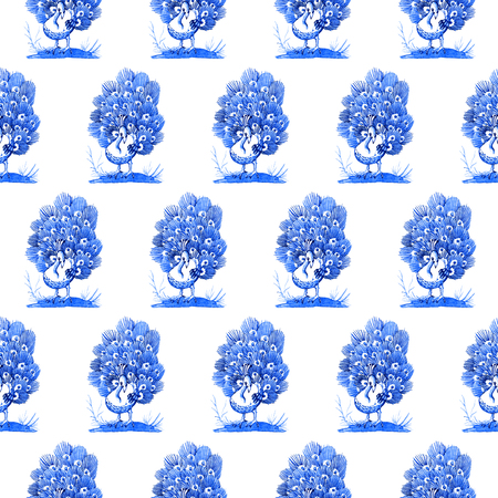 Delft blue style watercolour seamless pattern. Traditional Dutch motif with peacocks, cobalt on white background. Wallpaper. Textile print.
