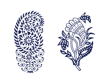 Set of 2 wood block printed paisley floral elements. Traditional oriental ethnic motifs of India, monochrome. For your design.  イラスト・ベクター素材