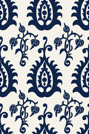 Seamless indigo dye floral block printed ethnic pattern. Vector ornament, traditional Russian motif with flowers and arabesques, navy blue on ecru background. Textile, wallpaper print.
