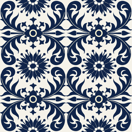 Seamless indigo dye floral ethnic pattern. Vector ornament, traditional Russian motif with flowers and acanthus leaves, navy blue on ecru background. Textile, wallpaper print.