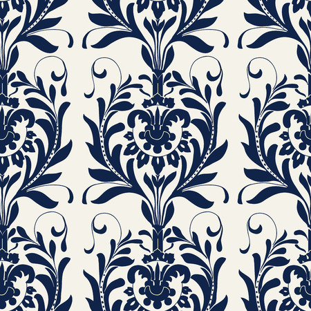 Seamless indigo dye floral block printed ethnic pattern. Vector ornament, traditional Russian motif with acanthus leaves, navy blue on ecru background. Textile, wallpaper print.