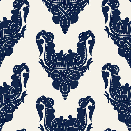 Seamless indigo dye floral block printed ethnic pattern. Vector ornament, traditional Russian motif with knotted griffins, navy blue on ecru background. Textile, wallpaper print. Illustration