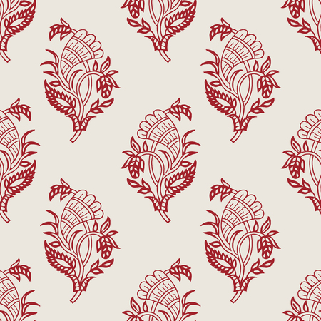Wood block printed seamless ethnic paisley pattern. Traditional oriental ornament of India with hops, red on ecru background. Textile design.