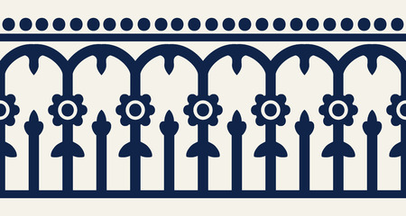 Woodblock printed indigo dye seamless ethnic floral geometric border. Traditional oriental ornament of India Kashmir, flowers and arcade motif, navy blue on ecru background. Textile design.