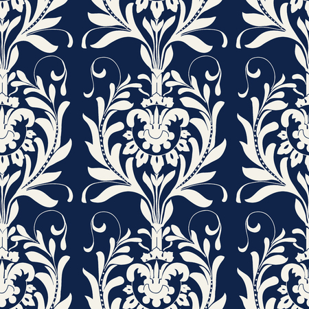 Seamless indigo dye floral block printed ethnic pattern. Vector ornament, traditional Russian motif with acanthus leaves, ecru on navy blue background. Textile, wallpaper print.