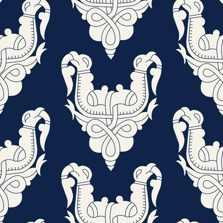 Seamless indigo dye floral block printed ethnic pattern. Vector ornament, traditional Russian motif with knotted griffins, ecru on navy blue background. Textile, wallpaper print.