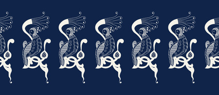 Seamless indigo dye  floral ethnic border. Vector ornament, traditional Russian motif with knotted firebirds on branch, ecru on navy blue background. Textile, wallpaper print.