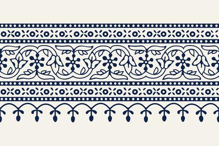 Woodblock printed indigo dye seamless ethnic floral geometric border. Traditional oriental ornament of India Kashmir, flowers wave and arcade motif, navy blue on ecru background. Textile design.