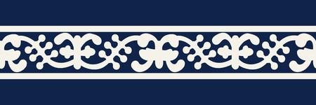 Woodblock printed indigo dye seamless ethnic floral geometric border. Traditional oriental ornament of India Kashmir, vines wave motif, ecru on navy blue background. Textile design.