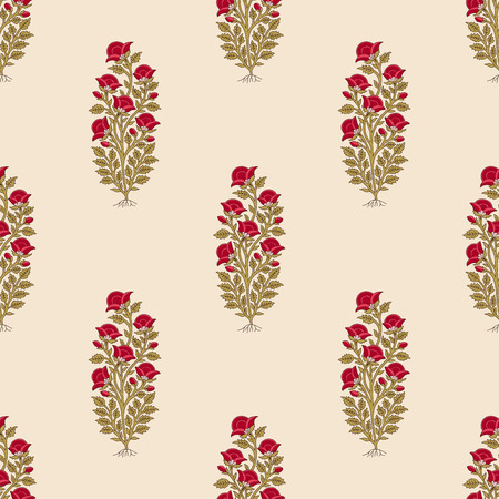 Woodblock printed seamless ethnic floral all over pattern. Traditional oriental motif of India, flowers of Kashmir, with red poppies on ecru background. Textile design.