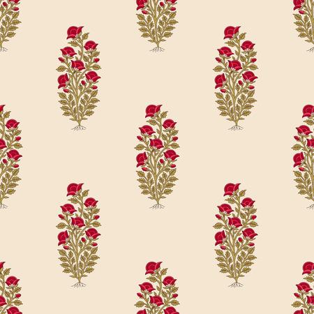Woodblock gedrukt naadloze etnische bloemen helemaal over patroon. Traditioneel oosters motief van India, bloemen van Kasjmir, met rode papavers op ecru achtergrond. Textiel ontwerp.