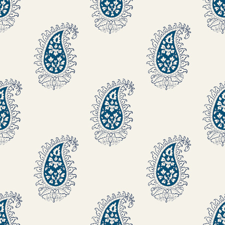 Indigo dye woodblock printed seamless paisley pattern. Traditional oriental Indian ethnic ornament, navy blue and teal on ecru background. Textile design. Illustration