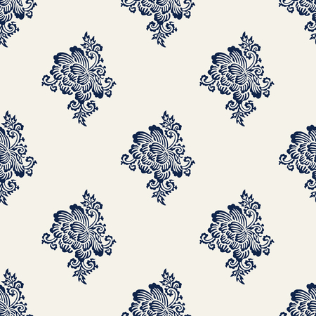 Seamless indigo dye woodblock printed paisley pattern. Traditional oriental Indian ethnic ornament with peony flowers, navy blue on ecru background. Textile design.