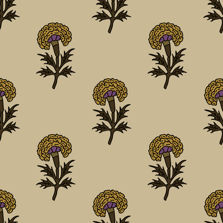 Woodblock printed seamless ethnic floral all over pattern. Traditional oriental motif of India, flowers of Rajasthan, with yellow marigolds on ecru background. Textile design.  イラスト・ベクター素材