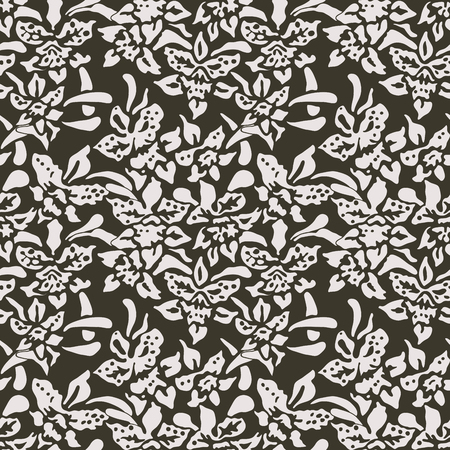 Seamless woodblock printed floral pattern. Traditional oriental ornament of Indonesia, with orchids, ecru on taupe background. Textile design. Ilustração