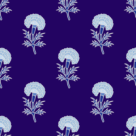 Woodblock printed indigo dye seamless ethnic floral all over pattern. Traditional oriental motif of India, flowers of Rajasthan, with blue marigolds on violet background. Textile design.