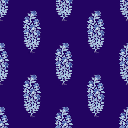Woodblock printed indigo dye seamless ethnic floral all over pattern. Traditional oriental motif of India, flowers of Kashmir, with blue poppies on violet background. Textile design.