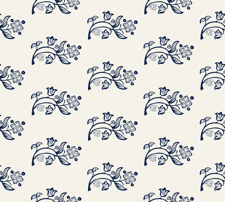 Seamless indigo dye woodblock printed all over floral pattern. Vector ornament, traditional Russian motif with garden flowers,  navy blue on ecru background. Textile, wallpaper print.