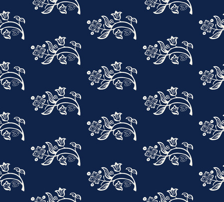 Seamless indigo dye woodblock printed all over floral pattern. Vector ornament, traditional Russian motif with garden flowers, ecru on navy blue background. Textile, wallpaper print.