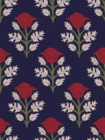 ウッドブロックは、すべてのパターン全体のシームレスな民族花を印刷しました。インディゴブルーの背景に赤いポピーを持つインドの伝統的な東洋のモチーフ。テキスタイルデザイン。