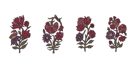 Set of 4 woodblock print floral elements. Traditional oriental ethnic motifs of India,  carnation flowers. For your design.