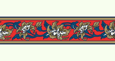 Woodblock gedrukt naadloze indigo dye etnische bloemenrand. Traditioneel oosters ornament van India, garland motief met gouden pioenroos bloemen, op rode achtergrond. Textiel ontwerp.