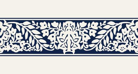 Naadloze woodblock gedrukte indigo dye etnische bloemenrand. Traditioneel oosters ornament van India, bloemgolfmotief, ecru op marineblauwe achtergrond. Textiel ontwerp.