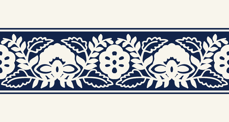 Seamless woodblock printed indigo dye ethnic floral border. Traditional oriental ornament of India, flower and damask wave motif, ecru  on navy blue background. Textile design.