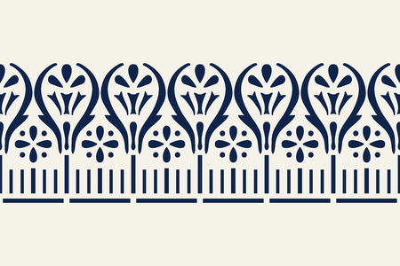 Woodblock printed indigo dye seamless ethnic floral geometric border. Traditional oriental ornament of India, damask motif of flowers, navy blue on ecru background. Textile design.  イラスト・ベクター素材