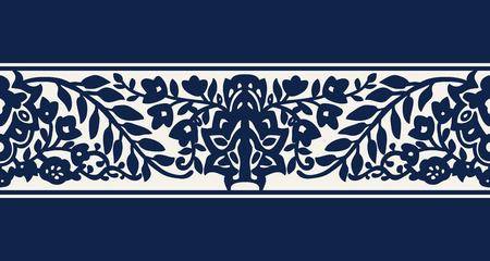 Seamless woodblock printed indigo dye ethnic floral border. Traditional oriental ornament of India, flower wave motif, navy blue on ecru background. Textile design.