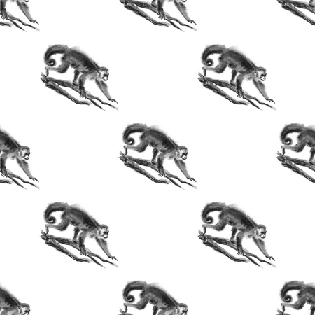 Seamless sumi-e monkey pattern. Oriental ink wash painting with Gracile capuchin monkeys walking on tree branches.  Isolated on white background. Symbol of the new year of monkey.