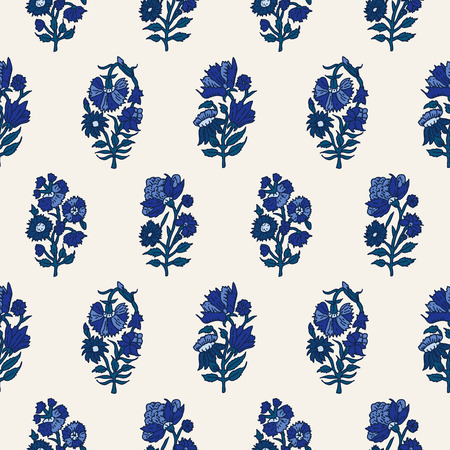 Woodblock printed indigo dye seamless ethnic floral all over pattern. Traditional oriental motif of India with carnations, blue shades on ecru background. Textile design. 矢量图像