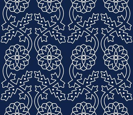 Woodblock printed indigo dye seamless ethnic floral border. Traditional oriental ornament of India Kashmir, geometric flowers ogee motif, ecru on navy blue background. Textile design.  イラスト・ベクター素材