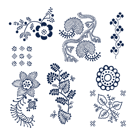 Set of 7 wood block printed floral elements. Traditional dotted ethnic motifs of Russia, indigo blue on white background. For your design of ornamental patterns or borders.  イラスト・ベクター素材