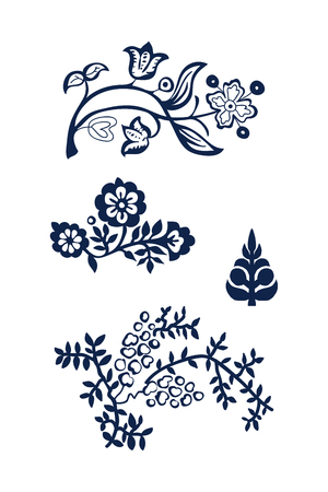 Set of 4 wood block printed floral elements. Traditional ethnic motifs of Russia, indigo blue on white background. For your design of ornamental patterns or borders. Vector Illustration
