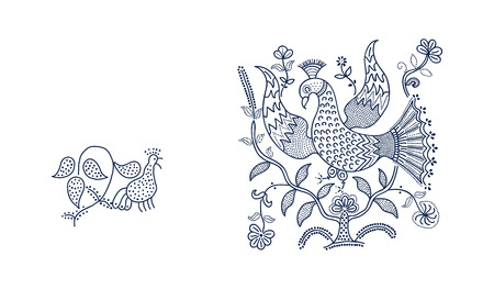 Set of 2 wood block printed floral elements. Traditional dotted ethnic motifs of Russia with birds and flowers, indigo blue on white background. For your design of ornamental patterns or borders.
