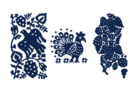 Set of 3 wood block printed floral elements. Traditional ethnic motifs of Russia with birds and flowers, indigo blue on white background. For your design of ornamental patterns or borders.  イラスト・ベクター素材