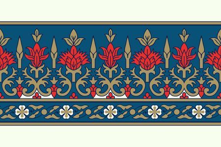 Woodblock printed seamless ethnic floral border. Traditional oriental ornament of India, damask motif, red, blue and golden tones on ecru background. Textile design. Illustration
