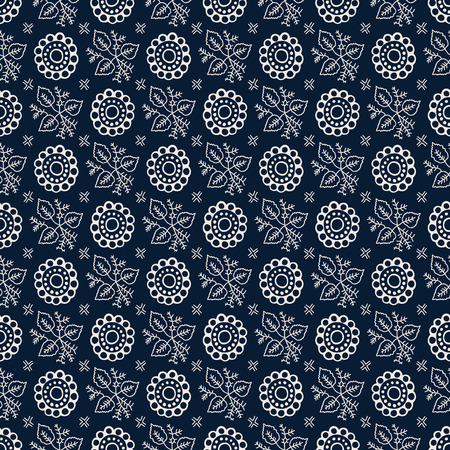 Seamless indigo dye woodblock printed floral pattern. Vector ethnic ornament, traditional Russian motif with leaves and flowers, ecru  on navy blue background. Textile print.