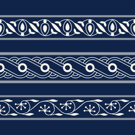 Set of 3 seamless woodblock printed indigo dye ethnic floral borders. Traditional oriental ornament of North India, flower garland and wave motifs, ecru on navy blue background. Textile design. Illustration