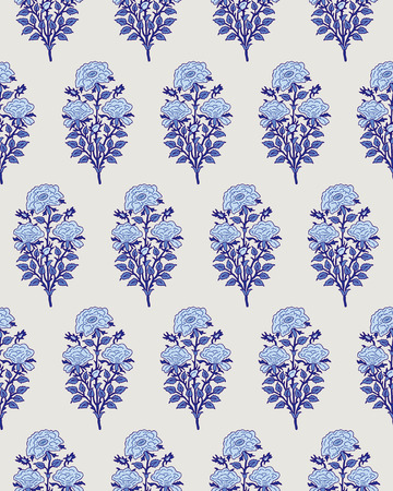 Woodblock printed indigo dye seamless ethnic floral all over pattern. Traditional oriental motif of India with bouquets of blue roses on ecru background. Textile design.