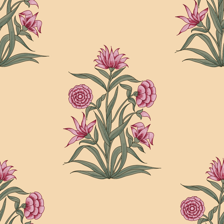 Woodblock printed seamless ethnic floral all over pattern. Traditional oriental motif of India Mogul with bouquets of pink carnations on ecru background. Textile design.