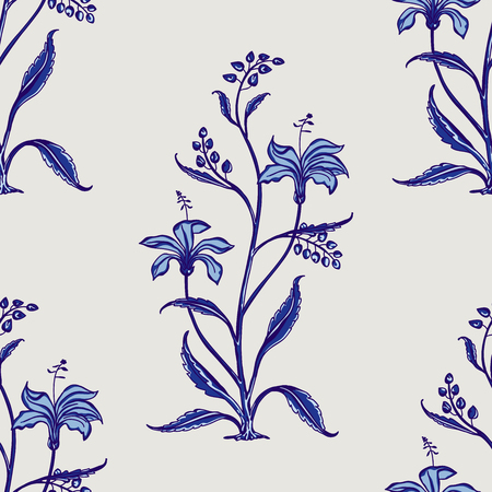 Woodblock printed indigo dye seamless ethnic floral all over pattern. Traditional oriental motif of India Mogul with bouquets of lilies blue hues on ecru background. Textile design.