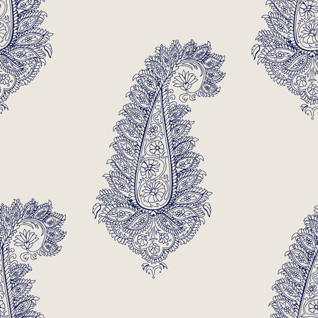 Seamless wood block printed indigo dye  ethnic paisley pattern. Traditional oriental ornament of India with flamboyant paisleys, ecru on navy blue background. Textile design.