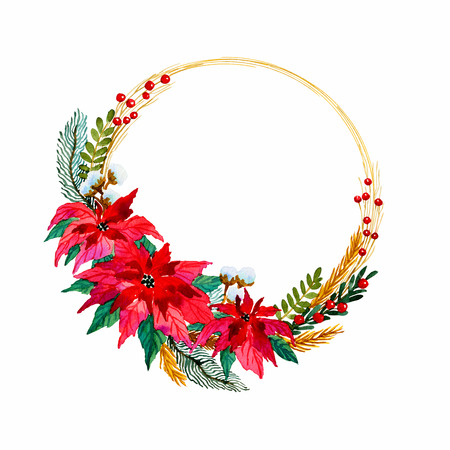 Christmas wreath with beautiful poinsettia flowers, red berries and golden lining. Hand painted watercolor illustration on white background. Template frame for your decorations and cards.