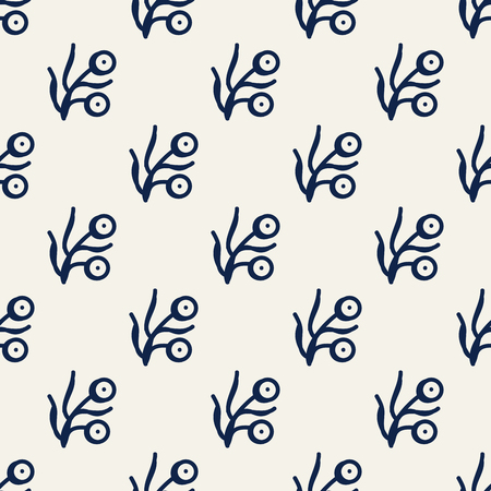 Seamless woodblock printed indigo dye  ethnic pattern. Traditional floral ornament for muslin fabric, navy blue on ecru background. Textile design.