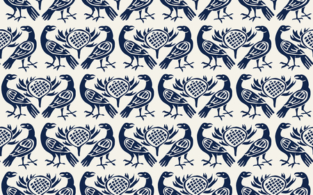 Seamless woodblock printed indigo dye ethnic pattern. Traditional European folk motif with ravens and thistles, navy blue  on ecru background. Textile or wallpaper print.