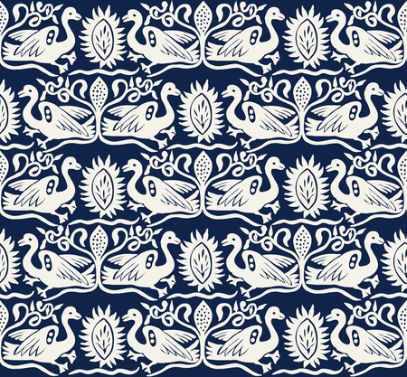 Seamless woodblock printed indigo dye ethnic pattern. Traditional European folk motif with gees and floral arabesques, ecru on navy blue background. Textile or wallpaper print.