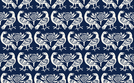 Seamless woodblock printed indigo dye ethnic pattern. Traditional European folk motif with ravens and thistles, ecru on navy blue background. Textile or wallpaper print.